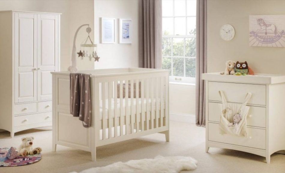 white wood cot in room