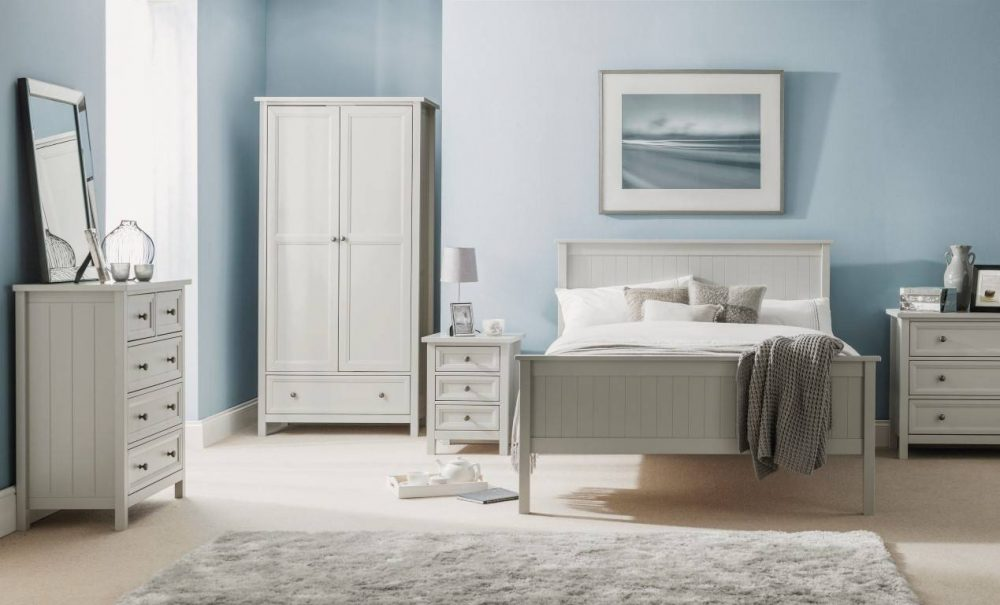 Dove Grey Bed frame roomset with matching furniture