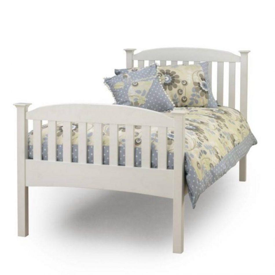 single white bed frame floral