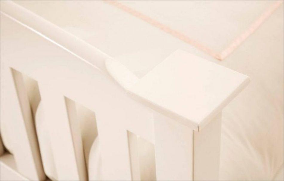 close up of white oak bed frame