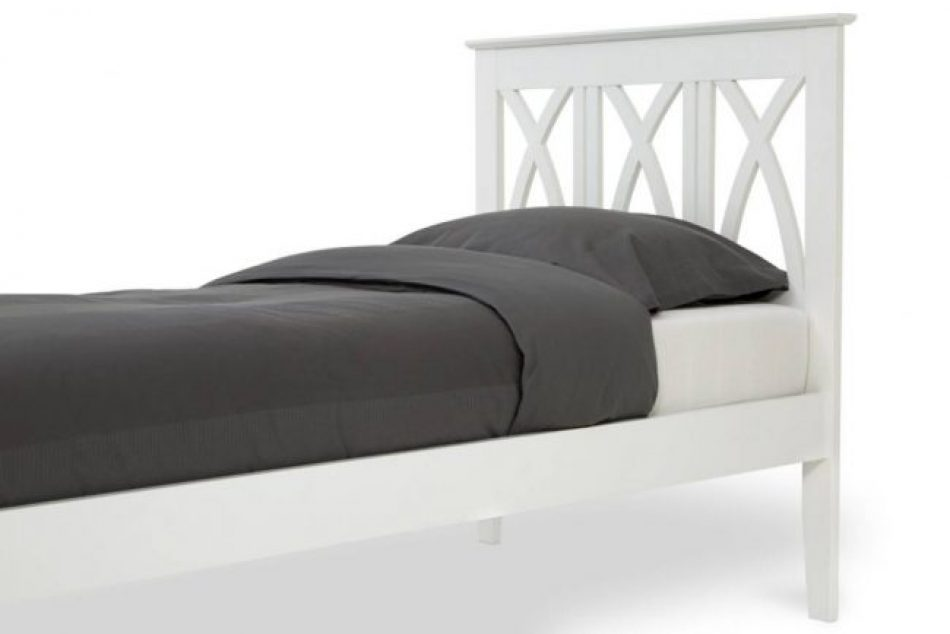 white wood cross headboard bed frame 3