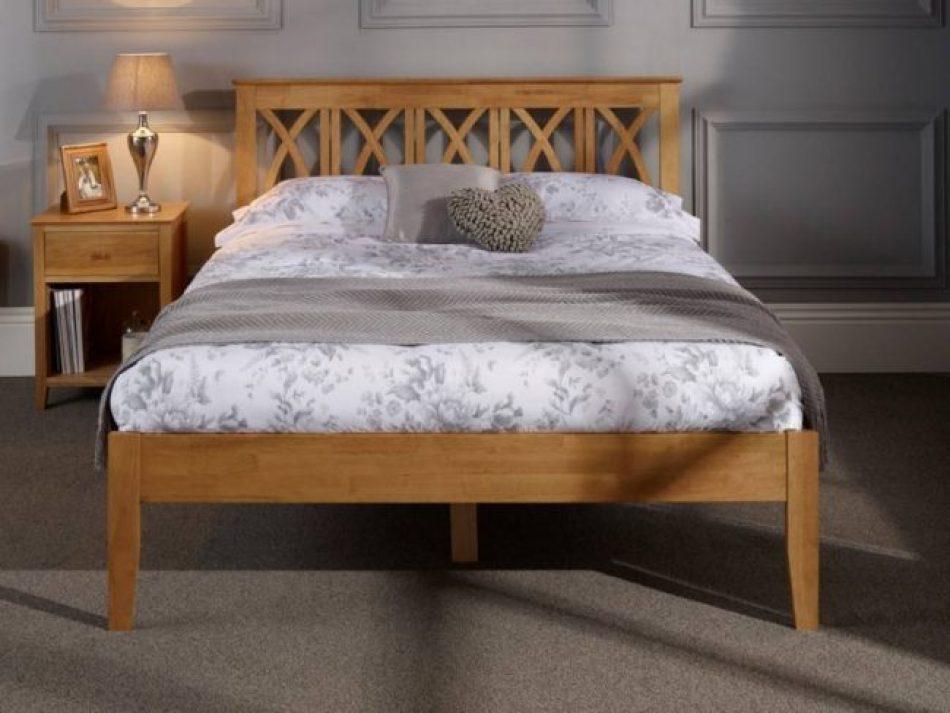 oak wood cross headboard bed frame 2