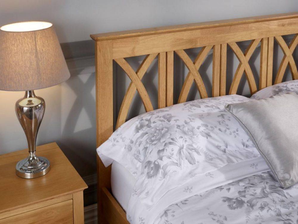 oak wood cross headboard bed frame