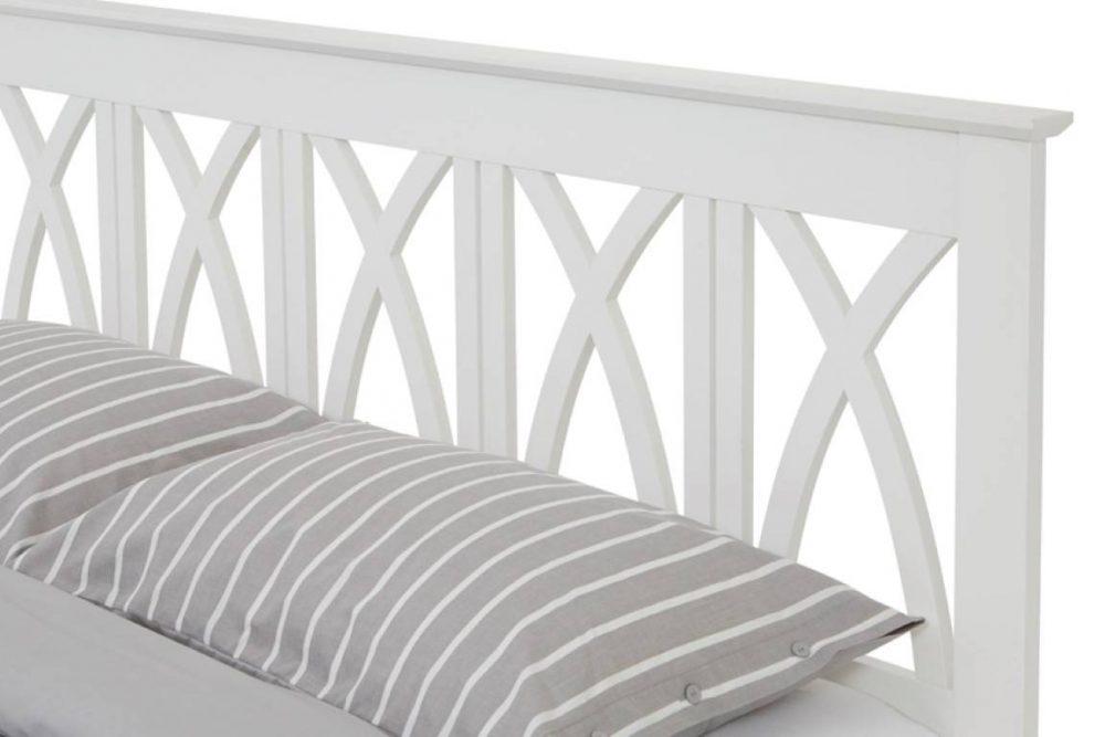 white wood cross headboard bed frame