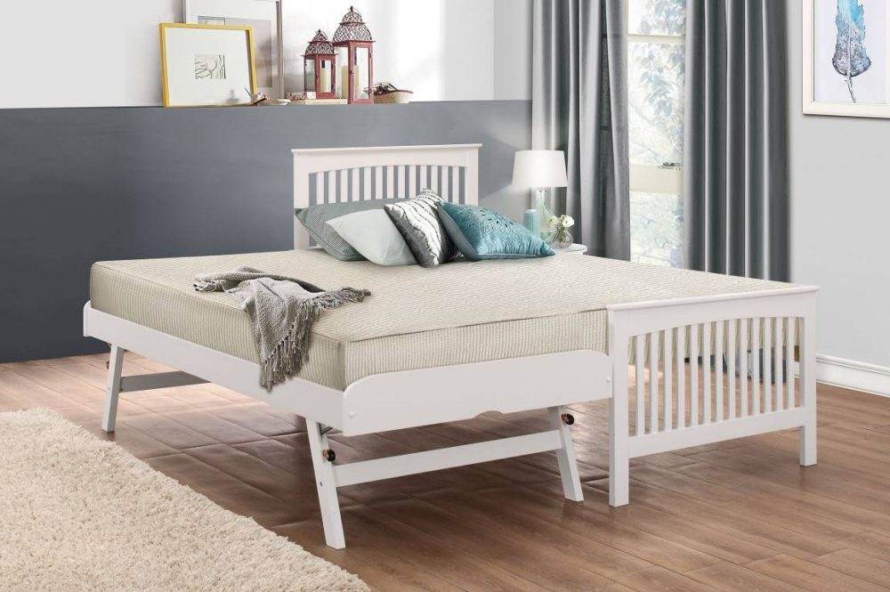 Wooden guest bed white
