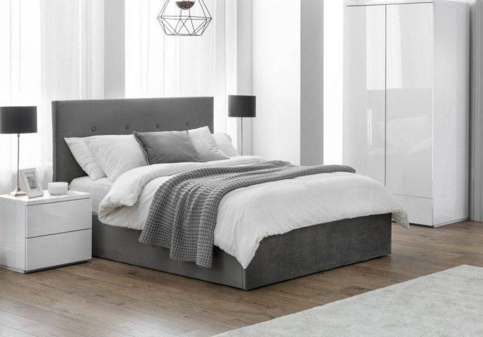Grey Velvet Storage Bed 006