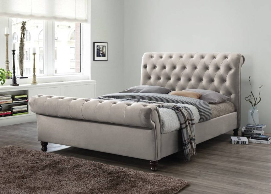 Fabric Sleigh Bed 012