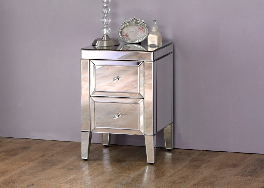 Mirrored 2 Drawer bedside